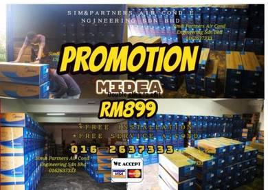 Aircond terbaru midea 1hp siap Pasang *promosi 899