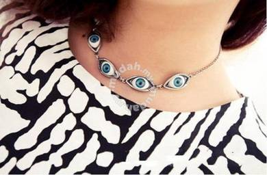 ABPSM-E002 Retro 5 Eye Punk Style Silver Necklace