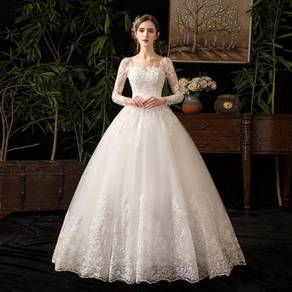 White long sleeve fishtail wedding gown RB1232