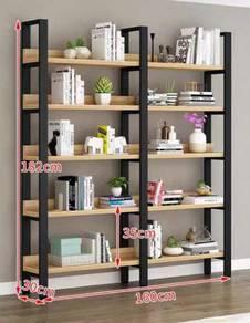 Wooden metal frame book shelf display rack storage