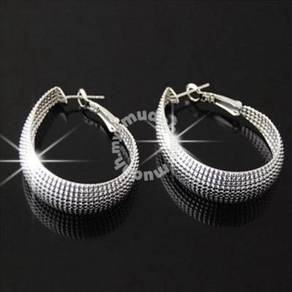 ABESM-T001 Teardrop shaped Silver Hoop Earring