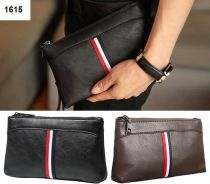 Men Stylish Simple Stripe PU Leather Clutch Bag