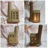 Vintage Ceramic House Cottage Light Table Lamp