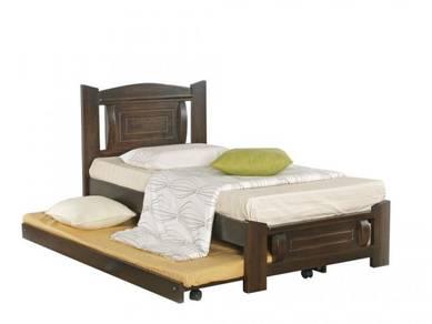Katil kayu pull out bed bedframe perabot 409