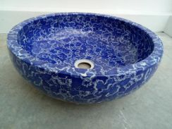 A Beautiful Blue Flower Batik Basin Table Top