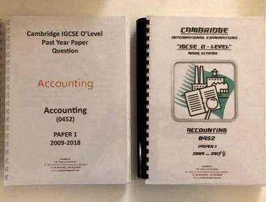 IGCSE Accounting paper 1 question & mark scheme