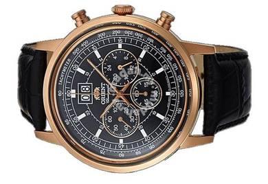 ORIENT Men Chrono Date Leather Watch CTV02002B