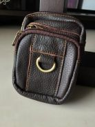 Horizontal leather mixed pouch