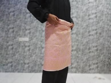 Sampin songket pink sulam emas untuk nikah/tunangg