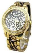 JAM Guess Women's Gold Animal Print Analog Watch U