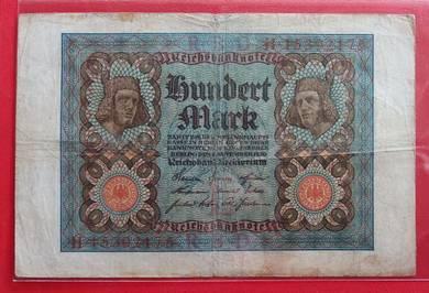 Wang Kertas GERMANY 100 Mark 1920