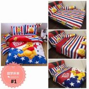 5in1 Disney Pooh Mickey Donald Bed sheet Bedsheet