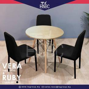 Vera table 80 cm + 3 ruby chairs