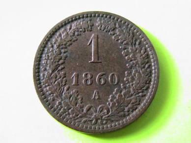 Austria 1 Kreuzer 1860 A [Kod : A0744]