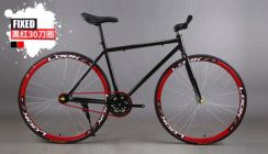 Basikal Fixie Fixed Gear Bicycle (Black Red)