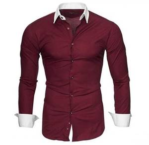 5120 Men Dark Red Formal Casual Long Sleeve Shirt
