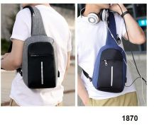 Chest Cross Body Sling Bag with USB Port 1870