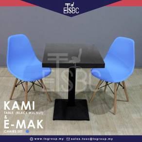 Kami table (60cm) + 2 emak chair