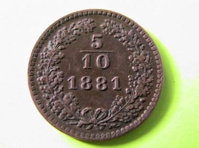 Austria 5/10 (half) Kruezer 1881 [Kod : A1308]