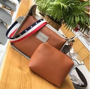 2in1 brown color strap slingbag