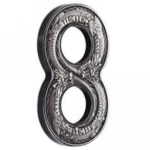 Figure eight dragon 2oz silver antiqued coin