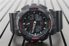 Jam Casio G Shock Black Red Resin Strap Mens Sport