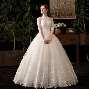 White long sleeve wedding dress gown RB1236