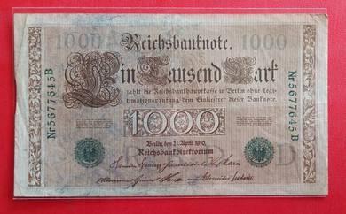 Wang Kertas GERMANY 1000 Mark 1910 (B)