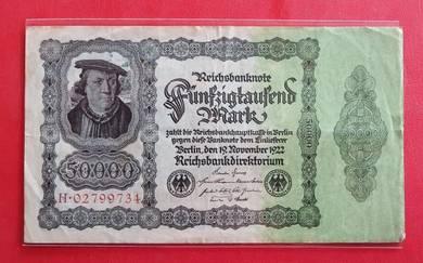 Wang Kertas GERMANY 50000 Mark 1922