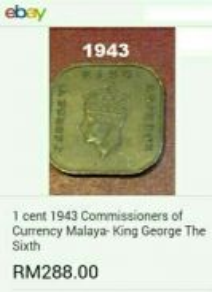 Duit syiling 1943 ~ 1sen Straits Settlements.