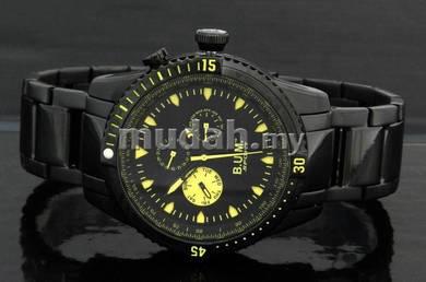 BUM Men Big Crown ALL BLACK Sport Watch B72603