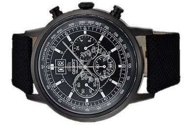 ORIENT Men Chrono Date Leather Watch CTV02001B