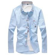 [73] Plain 5 Color Long Sleeved Shirt (Light Blue)
