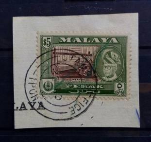PERAK 1957-61 5 SG161 Used on paper CAT £9 BK476