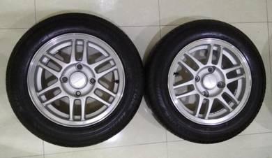 One Set Of Proton Iswara Alloy Rims & Tyres