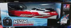 Red rc racing boat