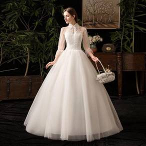 White cheongsam long sleeve wedding gown RB1238