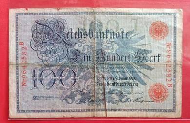 Wang Kertas GERMANY 100 Mark 1908 (B)