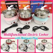 2 in 1 electric mini cooker pot with steamer