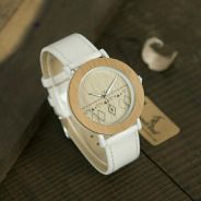 Women Leather Natural Wooden Watch. TTV000004