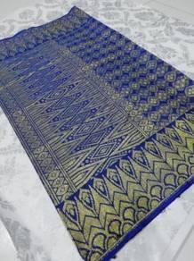 Sampin songket royal blue bersulam emas mewah