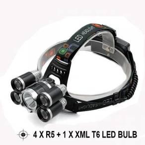 Headlamp 10k Lumen 4xR5 + Xml T6 Led Flashlight P