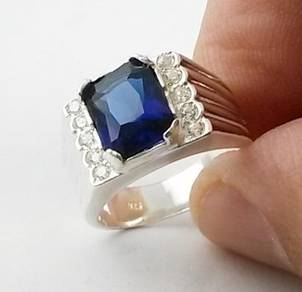 Silver ring 925 blue stone