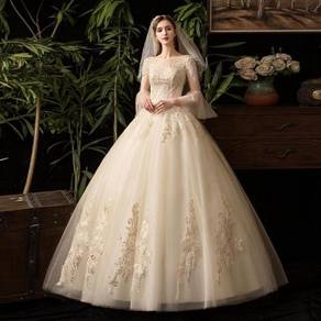 Cream fishtail long sleeve wedding gown RB1234