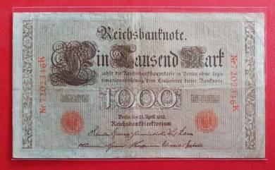 Wang Kertas GERMANY 1000 Mark 1910 (A)