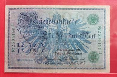 Wang Kertas GERMANY 100 Mark 1908 (A)