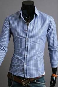 0553 Light Blue Striped Formal Long Sleeve Shirt