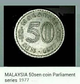 Duit syiling 50sen ~ 1977 Parlimen Malaysia.