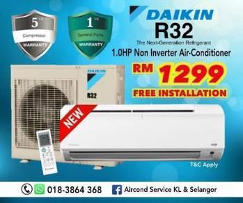 (New) Aircon DAIKIN 1HP R32 FREE Installation