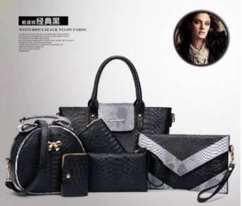 6in1 black set handbag